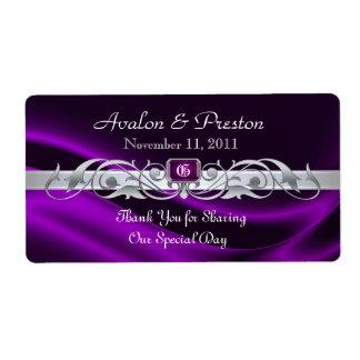 Etiqueta de seda violeta del boda del vino de la v etiquetas de envío