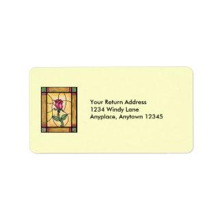 Etiqueta de ventana de rosa etiqueta de dirección