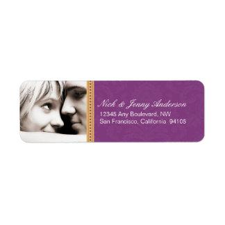 Etiqueta dedicada del remite de la foto (púrpura) etiqueta de remitente