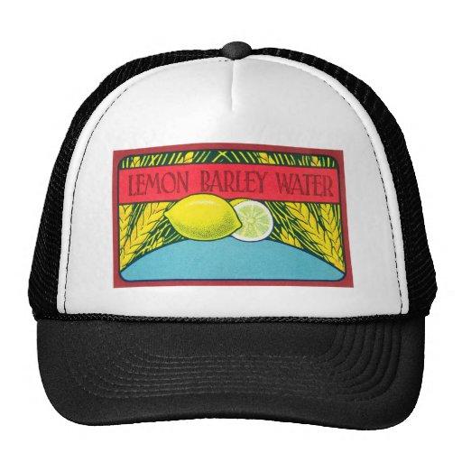 Etiqueta del agua de cebada del limón del vintage gorras de camionero