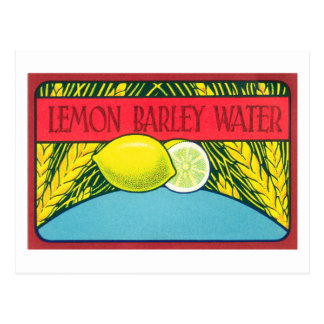 Etiqueta del agua de cebada del limón del vintage postal