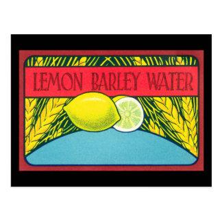 Etiqueta del agua de cebada del limón del vintage tarjetas postales