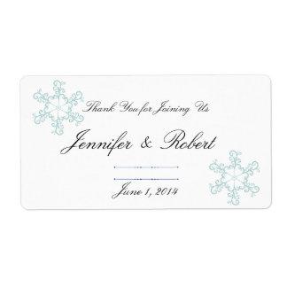 Etiqueta del agua del boda del copo de nieve del etiquetas de envío