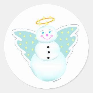 Etiqueta del ángel del muñeco de nieve del día de