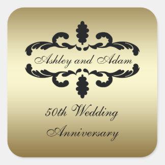 Etiqueta del aniversario de boda del negro 50.o