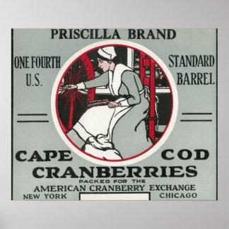 Etiqueta del arándano de la marca de Cape Cod Pris Póster