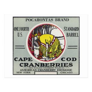 Etiqueta del arándano de la marca de Cape Cod Tarjetas Postales