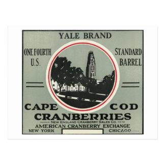 Etiqueta del arándano de la marca de Cape Cod Yale Tarjetas Postales