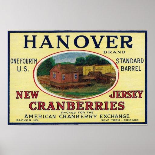 Etiqueta del arándano de la marca de Hannover Impresiones