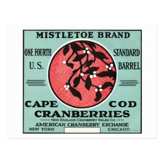 Etiqueta del arándano de la marca del muérdago de postal
