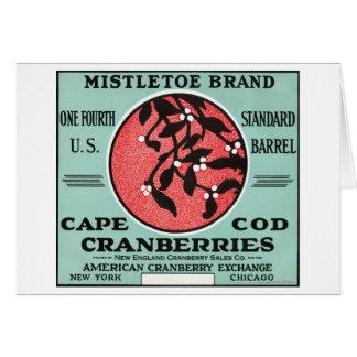 Etiqueta del arándano de la marca del muérdago de  tarjeta de felicitación