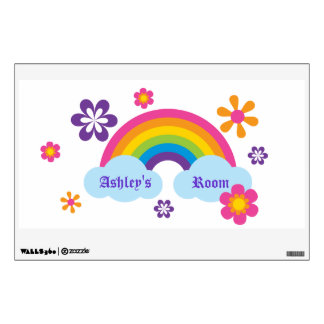 Etiqueta del arco iris y de la pared de las flores