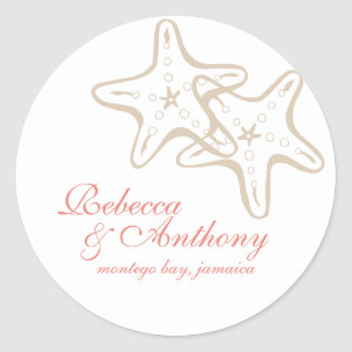 etiqueta del boda de las estrellas de mar