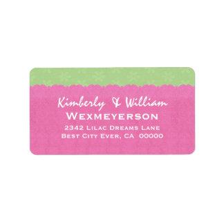 Etiqueta del boda del cordón del rosa y de la verd etiqueta de dirección