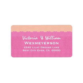 Etiqueta del boda del cordón del rosa y del meloco etiquetas de dirección