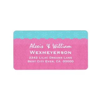 Etiqueta del boda del cordón del verde rosado y az etiquetas de dirección