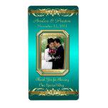 Etiqueta del boda del vino del oro de la foto de l etiquetas de envío