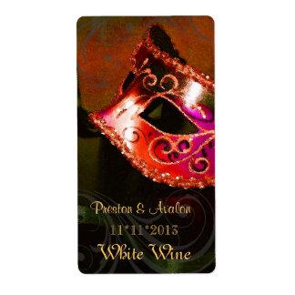 Etiqueta del boda del vino rojo de la mascarada de etiquetas de envío