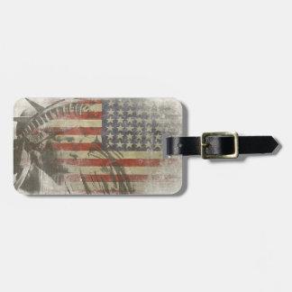 Etiqueta del bolso con la estatua de la libertad e etiqueta para equipaje
