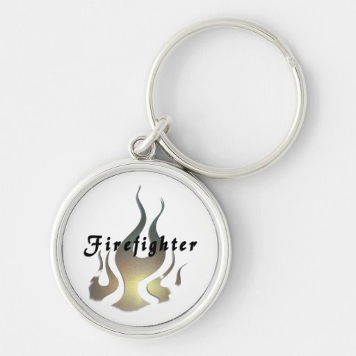 Etiqueta del bombero llavero redondo plateado