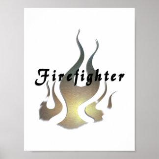 Etiqueta del bombero poster