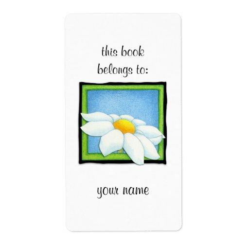 Etiqueta del Bookplate de la margarita 2 Etiquetas De Envío