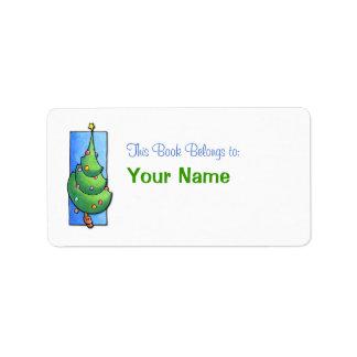 Etiqueta del Bookplate del árbol de navidad Etiqueta De Dirección