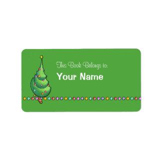 Etiqueta del Bookplate del árbol de navidad green2 Etiquetas De Dirección