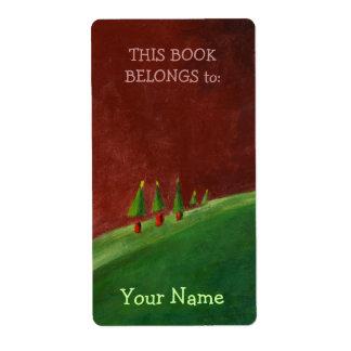 Etiqueta del Bookplate del paisaje de los saludos  Etiqueta De Envío