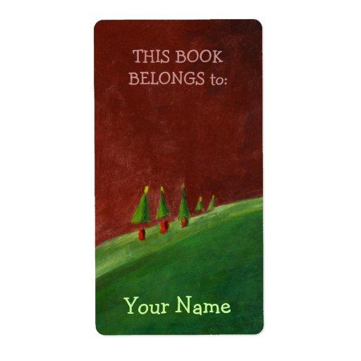 Etiqueta del Bookplate del paisaje de los saludos Etiquetas De Envío