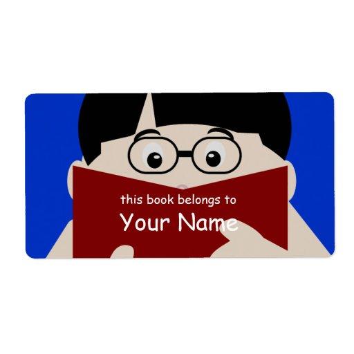Etiqueta del Bookplate del varón 2 del aficionado  Etiqueta De Envío