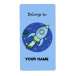Etiqueta del Bookplate del verde azul de Rocket Etiqueta De Envío