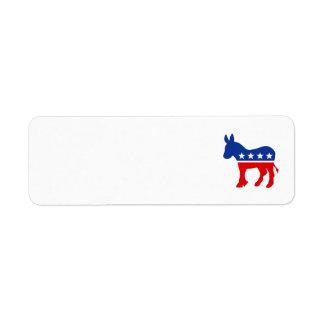 Etiqueta del burro de Demócrata Etiqueta De Remite