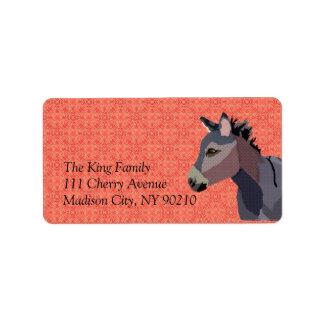Etiqueta del burro del vintage etiqueta de dirección