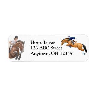 Etiqueta del caballo de la demostración del puente etiqueta de remite