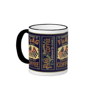 Etiqueta del café de la bandera del vintage, marca taza a dos colores