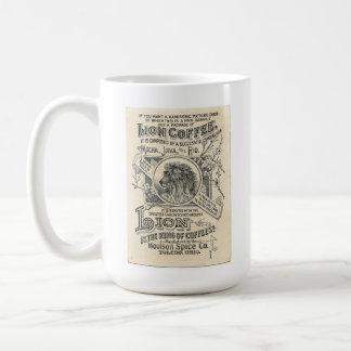 Etiqueta del café del vintage--Café del león Taza Clásica