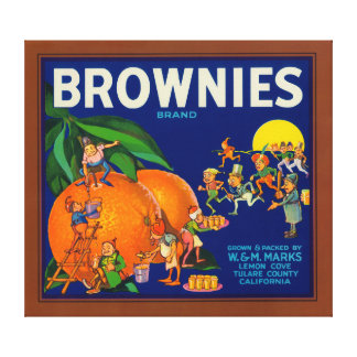 Etiqueta del cajón de la fruta cítrica de la marca impresiones en lienzo estiradas