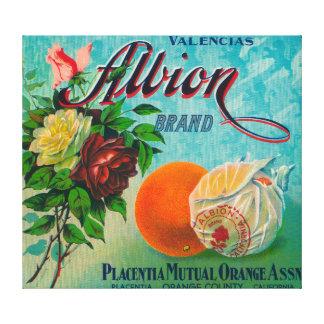 Etiqueta del cajón de la fruta cítrica de la marca impresión en lienzo estirada