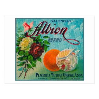 Etiqueta del cajón de la fruta cítrica de la marca tarjeta postal