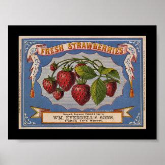 Etiqueta del cajón de la fruta de la fresa del póster