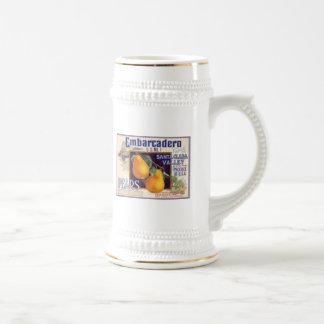 Etiqueta del cajón de la fruta de las peras de Emb Jarra De Cerveza