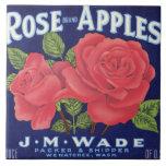Etiqueta del cajón de la fruta de las pomarrosas teja  ceramica
