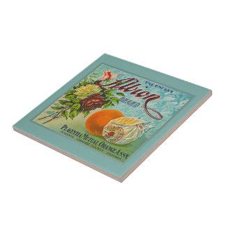 Etiqueta del cajón de la fruta de los naranjas de  tejas