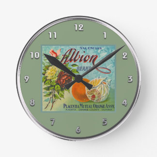 Etiqueta del cajón de la fruta de los naranjas de  reloj de pared