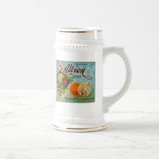 Etiqueta del cajón de la fruta de los naranjas de  jarra de cerveza