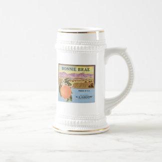 Etiqueta del cajón de la fruta de los naranjas del jarra de cerveza