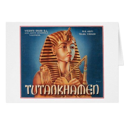 Etiqueta del cajón de la fruta de Tutankhamen del  Tarjeta