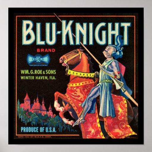 Etiqueta del cajón de la fruta del Azul-Caballero  Impresiones