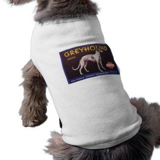 Etiqueta del cajón de la fruta del galgo camisetas de mascota